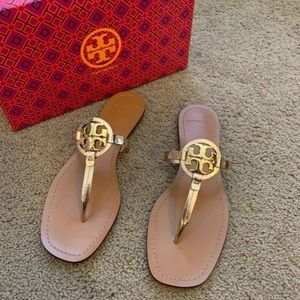 NEW 9.5 Tory Burch Rose Gold Mini Miller Sandals